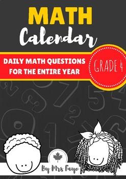 Grade 4 Daily Math Calendar Questions - Canadian Version
