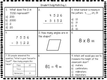 Grade 4 Daily Math Days 1-20