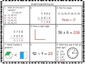 Grade 4 Daily Math Days 121-140