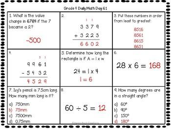 Grade 4 Daily Math Days 61-80
