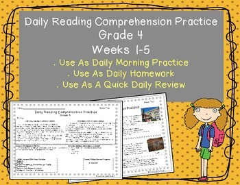 Grade 4 Daily Reading Comprehension Practice (Weeks 1-5)