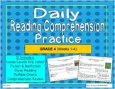 Grade 4 Daily Reading Comprehension Weeks 1-4 (Lexiles 721-774)