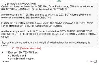 Grade 4 DECIMALS UNIT 1: [Introduction to ..] (4 worksheets & 7 quizzes)
