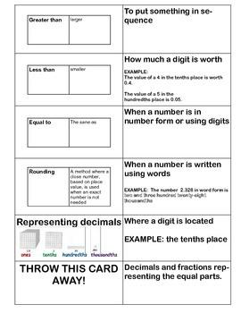 Grade 4 Decimals Study Cards