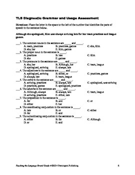 Grade 4 Diagnostic Grammar, Usage, Mechanics, and Spelling Assessments