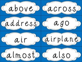 Grade 4 Dolch Sight Words {Bright Blue} - for word walls and games