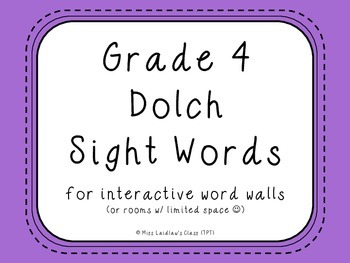 grade 4 dolch sight words purple for word walls and games