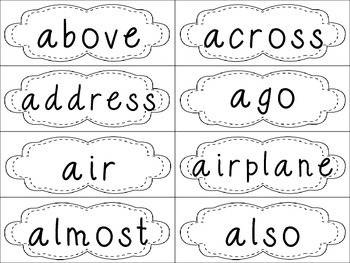 Grade 4 Dolch Sight Words {White} - for word walls and games