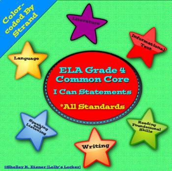 Grade 4 ELA  I Can Statements Common Core