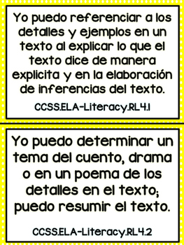 Grade 4 ELA Common Core Standards in Spanish