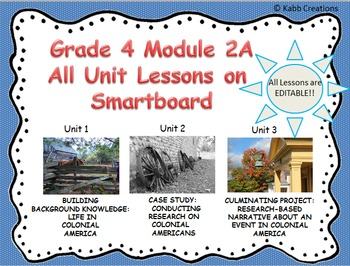 Grade 4 ELA Module 2A All Unit Lessons for Smartboard.. EDITABLE!!