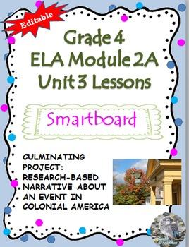 Grade 4 ELA Module 2A Unit 3 Lessons for Smartboard.. EDITABLE!