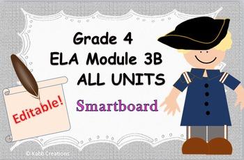 Grade 4 ELA Module 3B All Unit Lessons for Smartboard!  Fully editable!