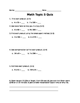 Grade 4 EnVision - Topic 5 Quiz