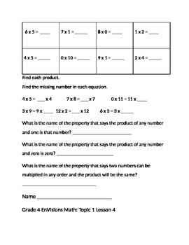 Grade 4 EnVisions Math Topic 1 Skills Checks