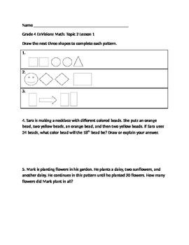 Grade 4 EnVisions Math Topic 2 Skills Checks