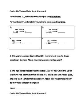 Grade 4 EnVisions Math Topic 4 Skills Checks