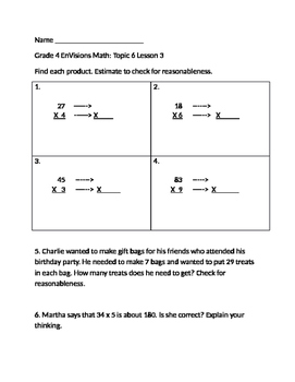 Grade 4 EnVisions Math Topic 6 Skills Checks