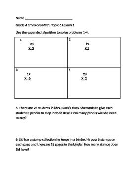 Grade 4 EnVisions Math Topic 6 Skills Checks