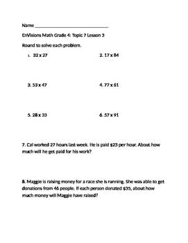Grade 4 EnVisions Math Topic 7 Skills Checks