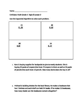 Grade 4 EnVisions Math Topic 8 Skills Checks