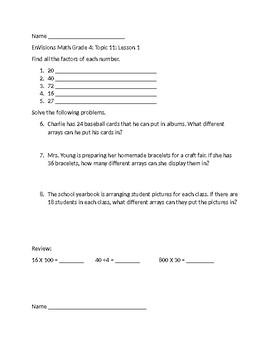 Grade 4 EnVisions Skill Checks Topic 11