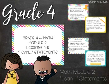 Grade 4 EngageNY Math Module 2 I Can Posters with Standards Eureka Math