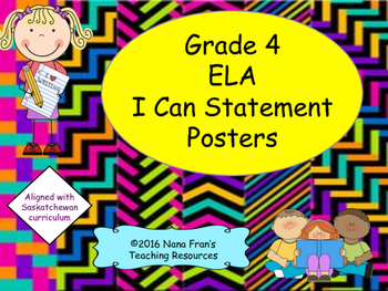 Grade 4 English Language Arts I Can Statement Posters