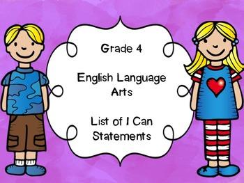 Grade 4 English Language Arts I Can Statements List