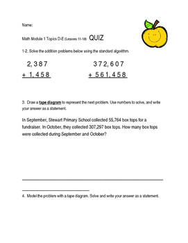 Grade 4 Eureka Math Module 1 Lessons 11-18 QUIZ, REVIEW, and Differentiated Quiz