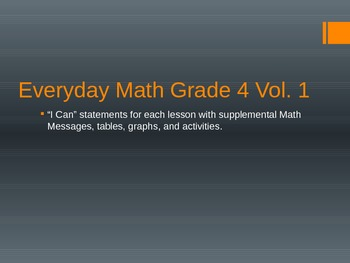 "Grade 4 Everyday Math ""I Can"" Statements Vol 1"