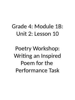 Grade 4 Expeditionary Learning Unit 1 B, Module 2, Lessons 10 & 11