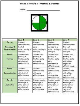Grade 4 Fractions & Decimals Assessment