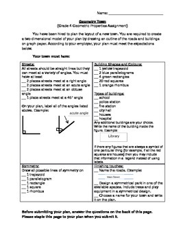 Grade 4 Geometry Assessment Task - Ontario Curriculum with checkbric