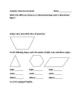 Grade 4 Geometry Check-in Assessment