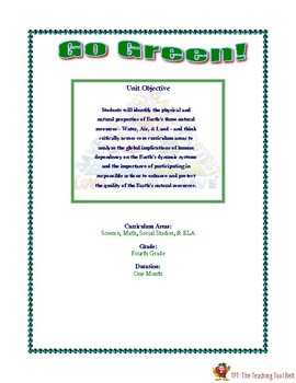 "Grade 4: ""Go Green"", Interdisciplinary Thematic Unit Essential Questions"