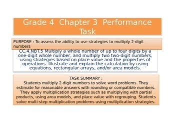4th  Grade  Chapter 3 Math Performance task