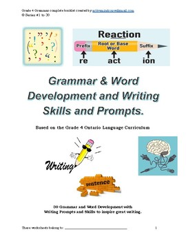 30 Complete Grammar, Word Development and Writing Prompts Grade 4+