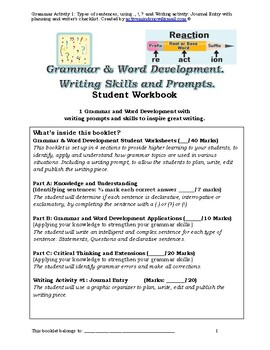 Grade 4 Grammar and Writing Prompts Activity 1: Types of sentences