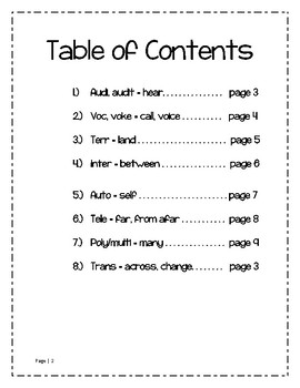Grade 4 - Greek and Latin Roots Word Study Lists