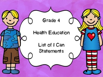 Grade 4 Health I Can Statements List
