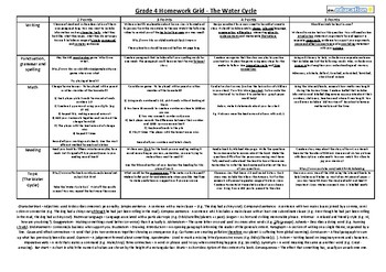Grade 4 Homework Grid (writing, SPAG, math, reading and topic - water cycle)
