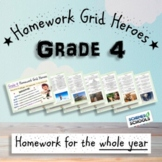Grade 4 Homework Grids - Yearly Pack
