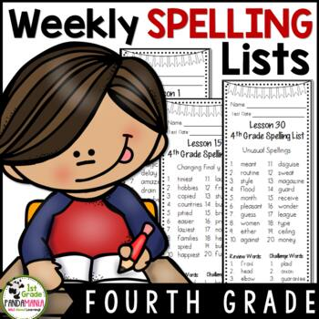 Grade 4 Weekly Spelling Lists Aligned with HMH Journeys 2011, 2014 and 2017
