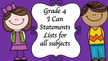 Grade 4 I Can Statement Lists for all subjects