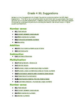 Grade 4 IXL Activities Aligned to NYS Assessment
