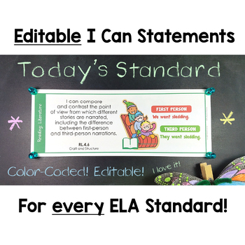Common Core Standards I Can Statements for 4th Grade ELA - Half Page