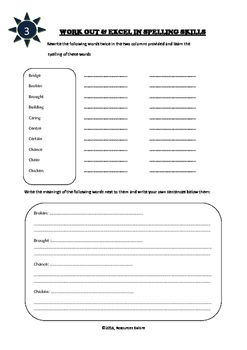 Grade 4 - Interactive Notebook for Spelling and Vocabulary