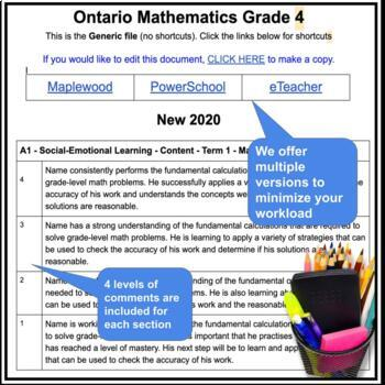 Report Card Comments - MATH - Ontario Grade 4