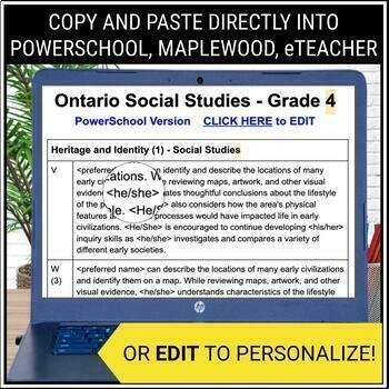Grade 4 - Junior - SOCIAL STUDIES - Report Card Comment Bank
